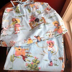 Nick & Nora cowgirl pj's sleepwear set sz S